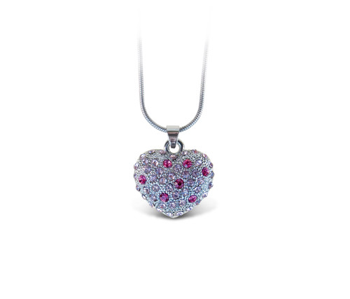 Sparkling Necklace Pink Heart