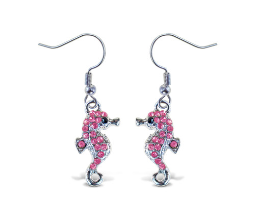 Sparkling Earrings Sea Horse