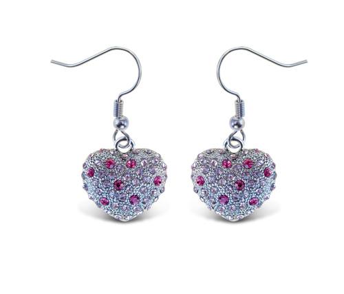 Sparkling Earrings Pink Heart