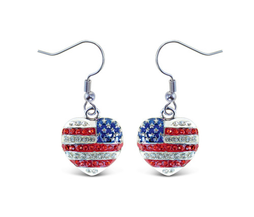 Sparkling Earrings American Heart