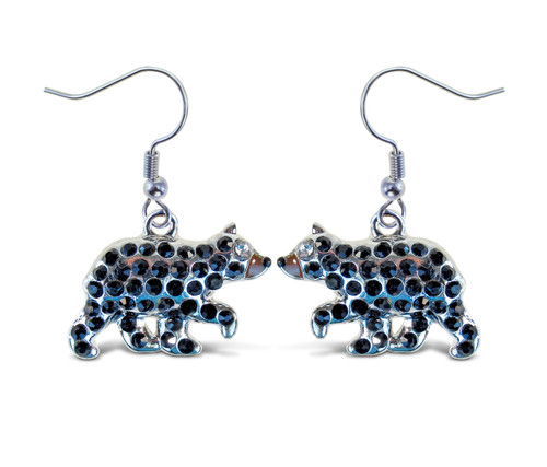 Sparkling Earrings Black Bear