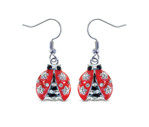 Sparkling Earrings Ladybug