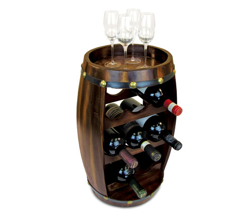 8 Bottles Wooden Holder Barrel Shape Wine Decor