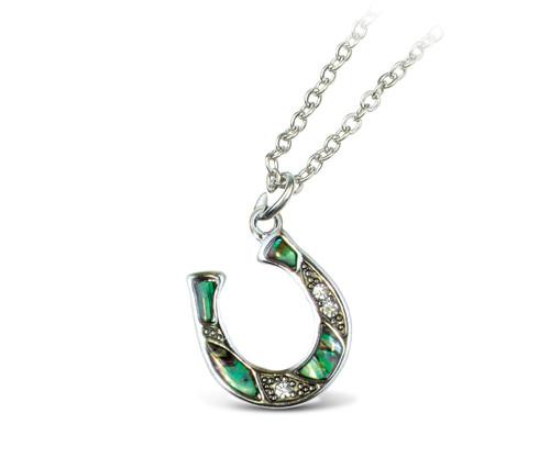 "Link Style Chain 18"" - Natural Paua - Horse Shoe"