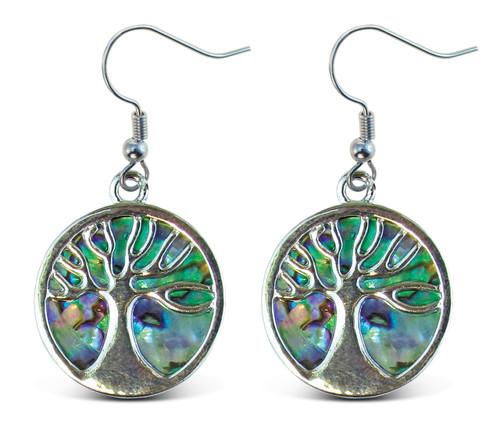 Earrings - Dangle Post - Fish Hook - Natural Paua - Tree Of Life