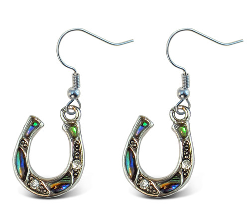 Earrings - Dangle Post - Fish Hook - Natural Paua - Horse Shoe