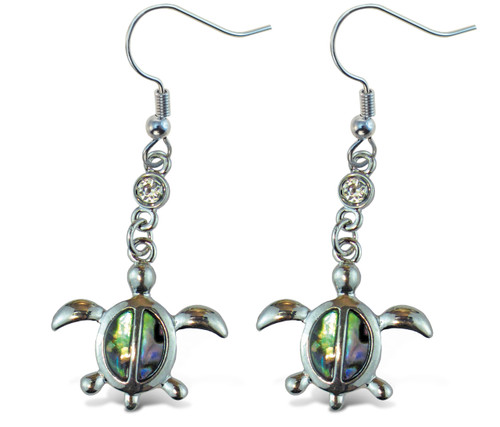 Earrings - Dangle Post - Fish Hook - Natural Paua - Sea Turtle