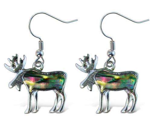 Earrings - Dangle Post - Fish Hook - Natural Paua - Moose