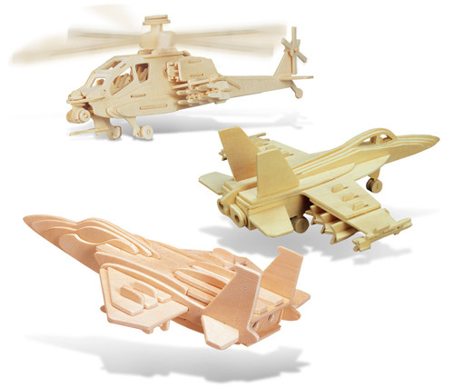 F-15 Fighter Plane, Apache and F-18 Hornet Wooden 3D Puzzle Construction Kit