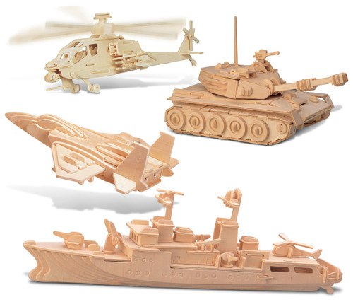 F-15 Fighter Plane, Apache, Destroyer and Tank Wooden 3D Puzzle Construction Kit