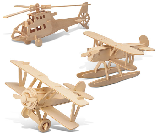 Water Plane, Chopper and Nieuport 17 Wooden 3D Puzzle Construction Kit