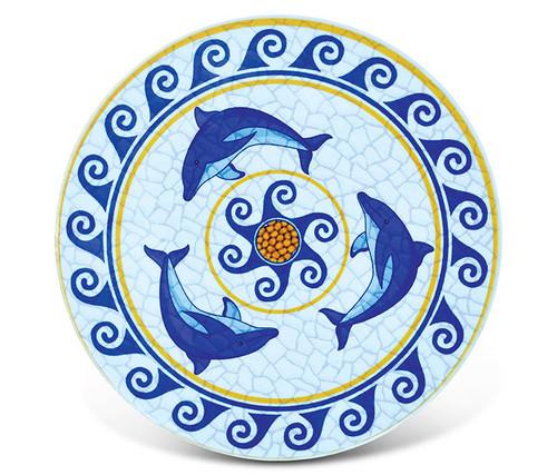 Ceramic Coaster Dolphins Mosaic