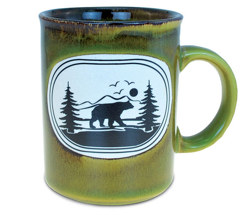 Ceramic Greenish Mug 11oz Black Bear