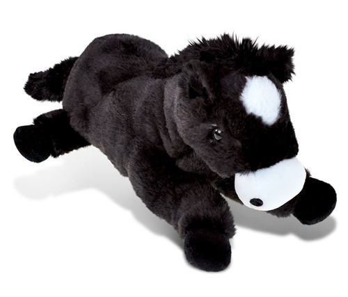 Super Soft Plush Lying Black Horse