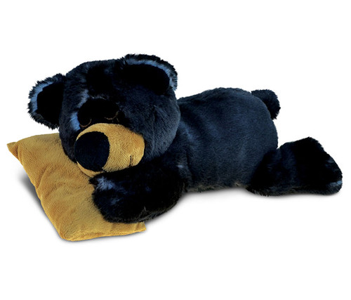 Super Soft Plush Sleeping Black Bear With Pillow