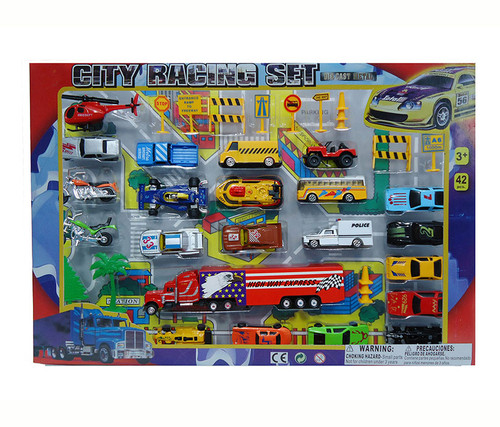 Diecast City Speed Racing with Play Mat, 42 Pcs  Toy Playset