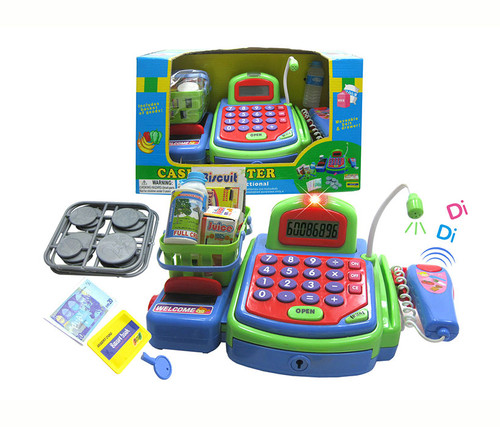 Green Electronic Cash Register With Groceries Pretend Play Toy Set