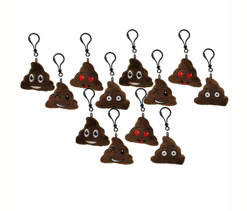 Plush Emoji Poop Keychain Set of 12 Plush Keychains