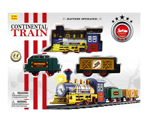 Continental Railroad Express Train, 11Pcs - Locomotive Color May Vary Toy Playset