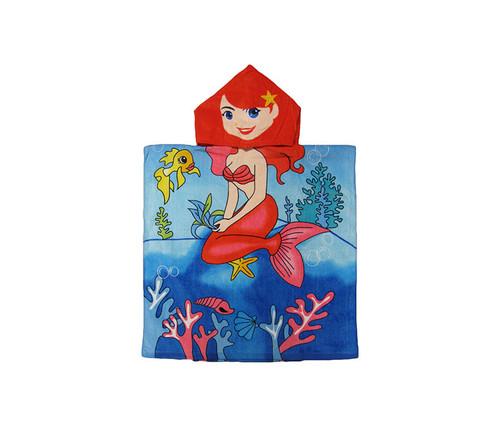 Kids Sitting Mermaid Hooded Bath Towel Bath Towels