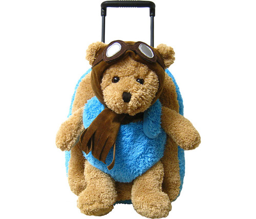 Children's Aviator Pilot Bear Plush Roller Backpack Kid's Luggage