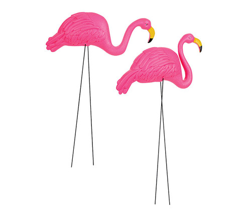 Pink Flamingo Yard Ornament 2 pc Set Garden Decor