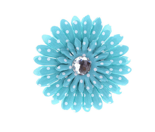 Turquoise Polka Dot Rhinestone Daisy Flower Hairclip Hair Accessory