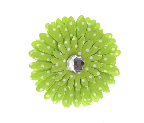 Green Polka Dot Rhinestone Daisy Flower Hairclip Hair Accessory