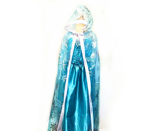 Girls Snow Queen Hood Cape Costume