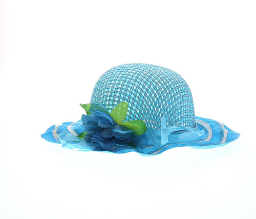 Girls Turquoise Tea Party Flower Hat Girls Hat