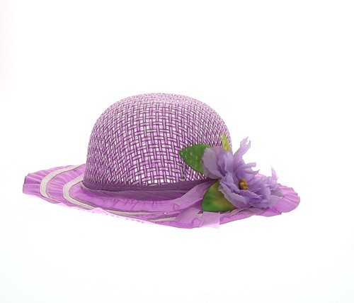 Girls Purple Tea Party Flower Hat Girls Hat