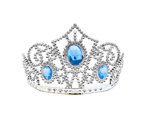 Girls Silver Blue Rhinestone Tiara Costume Accessory