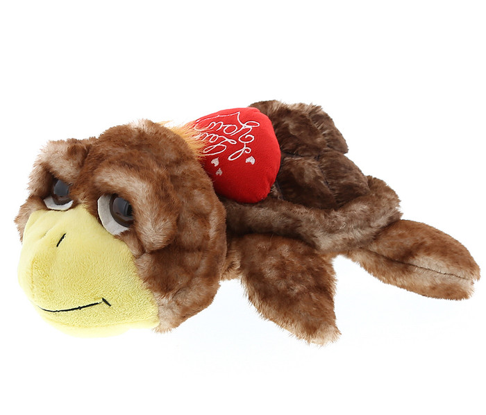 Dollibu Large Brown Sea Turtle I Love You Valentines Plush Super