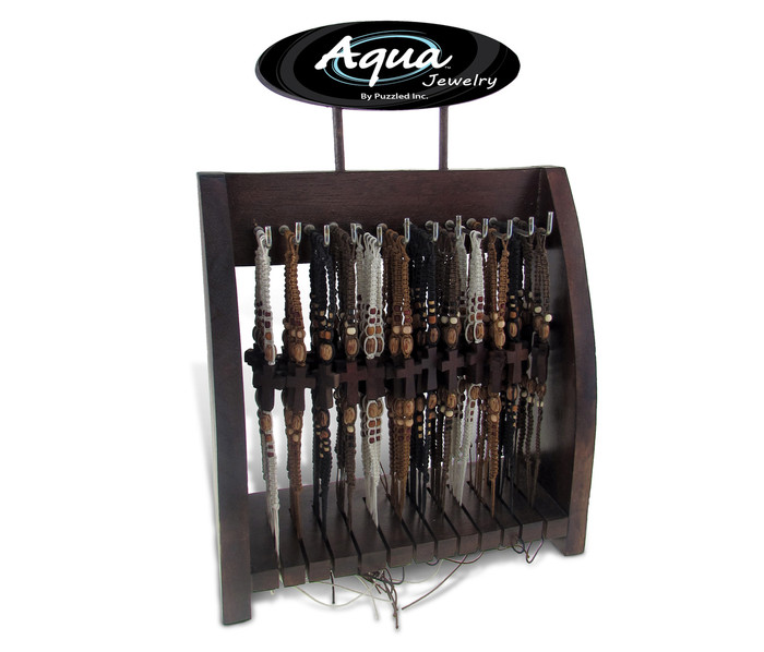 Aqua Bracelets Package Wax Cotton With Wood