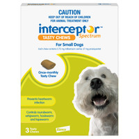 Interceptor Spectrum Tasty Chews For Small Dogs (4-11kg) Green 3's