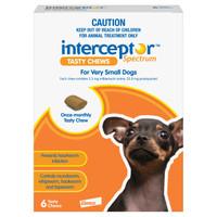 Interceptor Spectrum Tasty Chews For Very Small Dogs (<4kg) Orange 6's