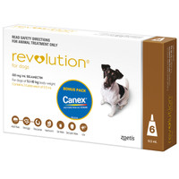 Revolution Dog 5.1-10kg Brown + Canex 60mg 6's