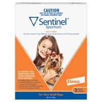 Sentinel Spectrum Tasty Chews for Very Small Dogs (<4kg) Orange 3's
