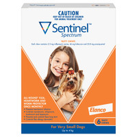 Sentinel Spectrum Tasty Chews for Very Small Dogs(<4kg) Orange 6's