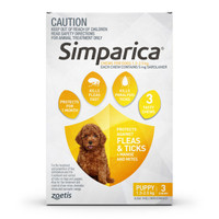 SIMPARICA Chews for Puppy Dogs 1.3 - 2.5 kg (Yellow) - 3 pack