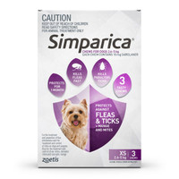 SIMPARICA Chews for XSmall Dogs 2.6 - 5 kg (Purple) - 3 pack