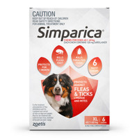 SIMPARICA Chews for Xlarge Dogs 40.1 - 60 kg (Red) - 6 pack
