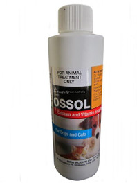 Ossol 5L  Calcium with Vitamin Supplement, added to the diet of pregnant & lactating animals; young & growing animals; or when milk is in short supply. Treatment for calcium deficiencies.