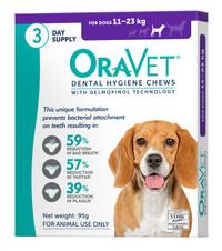 Oravet Dental Hygiene Chews for Medium Dogs (11-23kg) (3 Chews)
