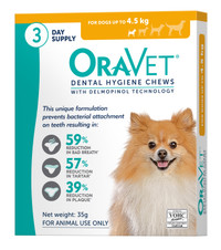 Oravet Dental Hygiene Chews for Extra Small Dogs (<4.5kg) (3 Pack)