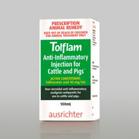 Tolflam 100mL Injection Anti-Inflammatory Injection for Cattle & Pigs Tolfenamic acid 40 mg/mL