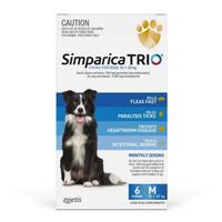 Simparica Trio 10.1-20kg Dog Flea Tick & Worm Chew 6 Pack