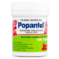 Popantel Tapewormer Tablets For Dogs and Cats (100 Tablets) Praziquantel 50mg
