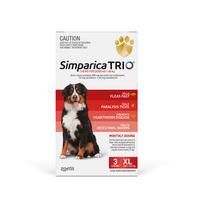 Simparica TRIO (Flea, Tick & Worms) for Dogs 40.1-60kg (3 Pack)