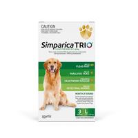 Simparica TRIO (Flea, Tick & Worms) for Dogs 20.1-40kg (3 Pack)